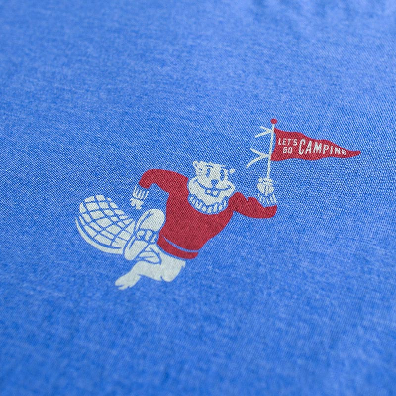 blue shirt with beaver graphic