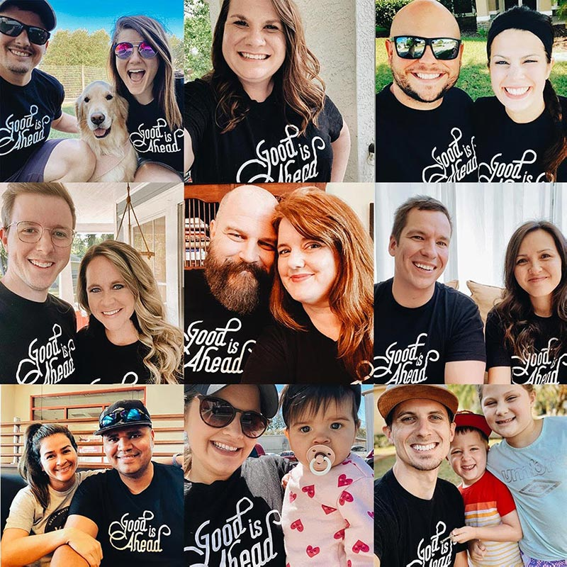 collage of ouples all wearing same shirt