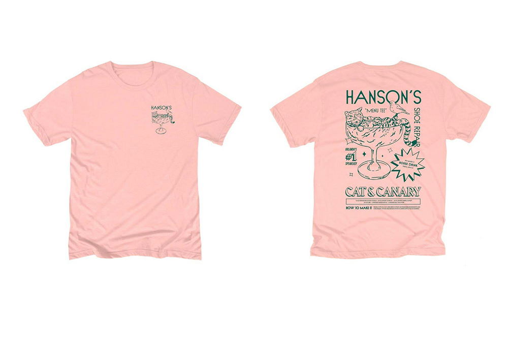front and back of pink shirt