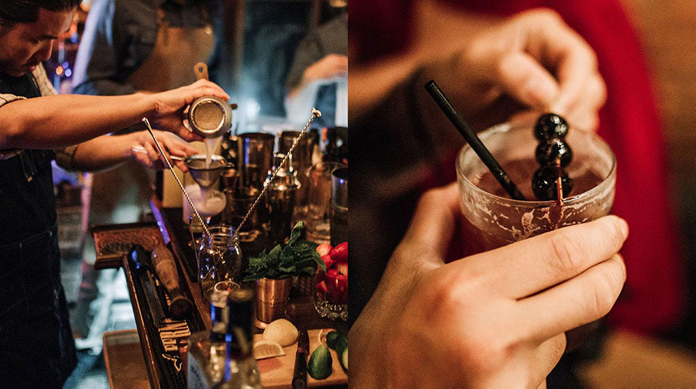 two pictures of bartender
