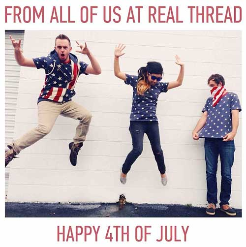 three people wearing red white and blue jumping