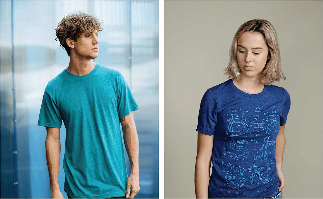 two pictures of models modeling tri-blend shirts