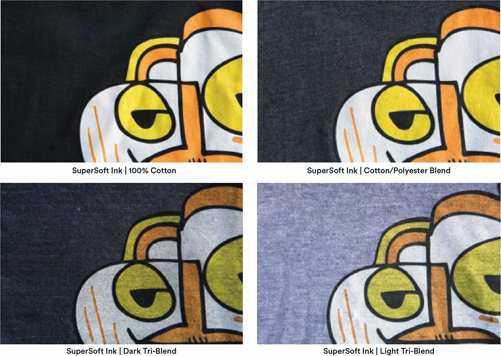 four examples of different blend shirts