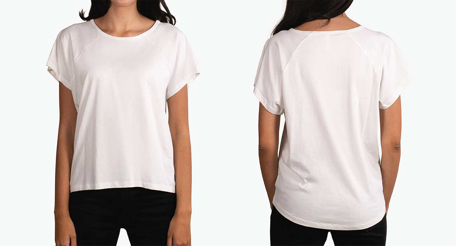 woman wearing scoop neck front and back white shirt