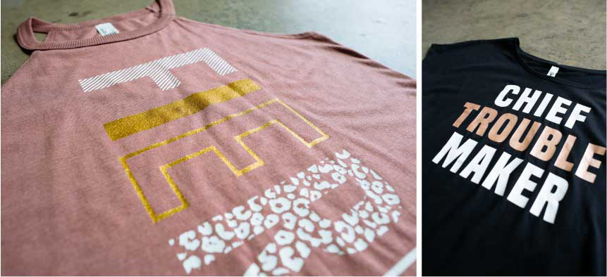 two shirts with gold foil printing