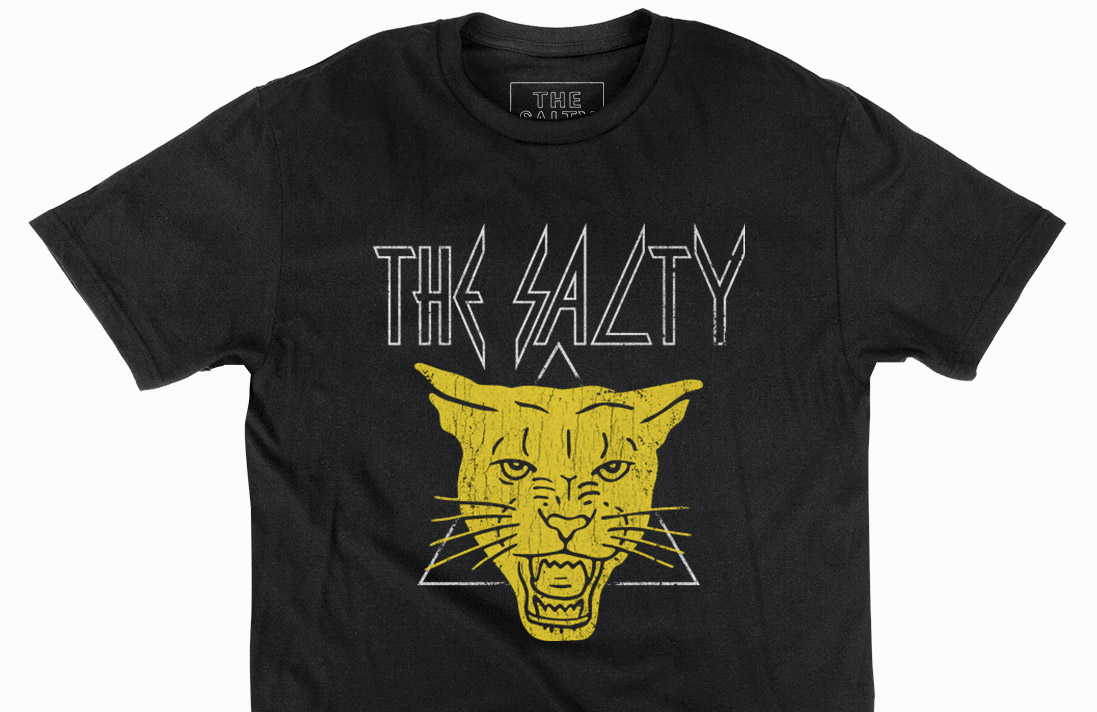 Black shirt with white text and a yellow panther's face on a white triangle outline