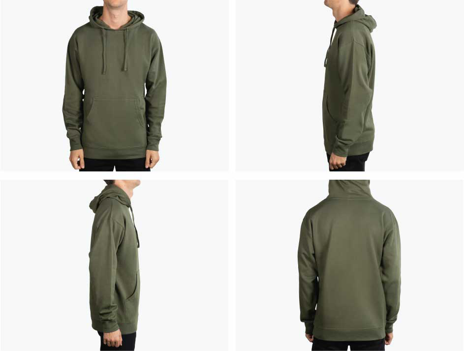 four pictures of man wearing green arm hoodie