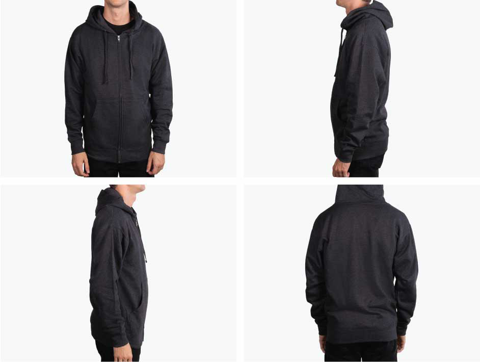 four pictures of man wearing black hoodie