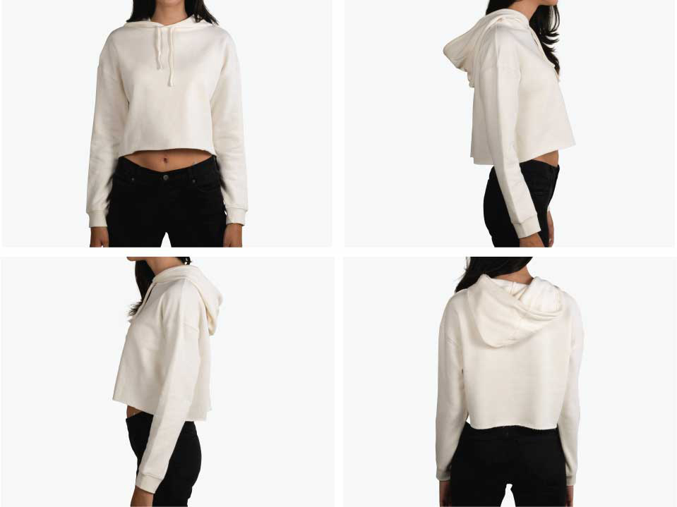 four pictures of girl wearing white crop top hoodie