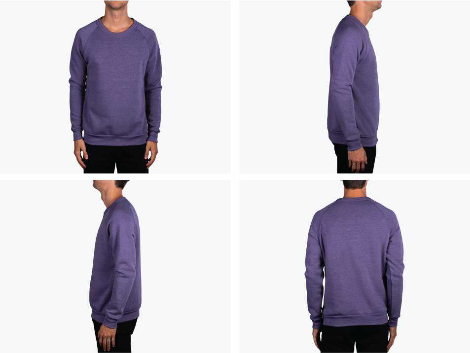 four images of man wearing purple sweatshirt