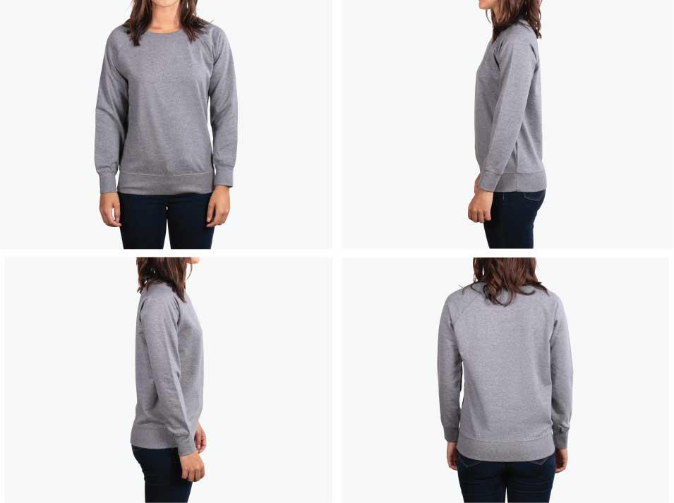 four images of woman wearing grey sweatshirt