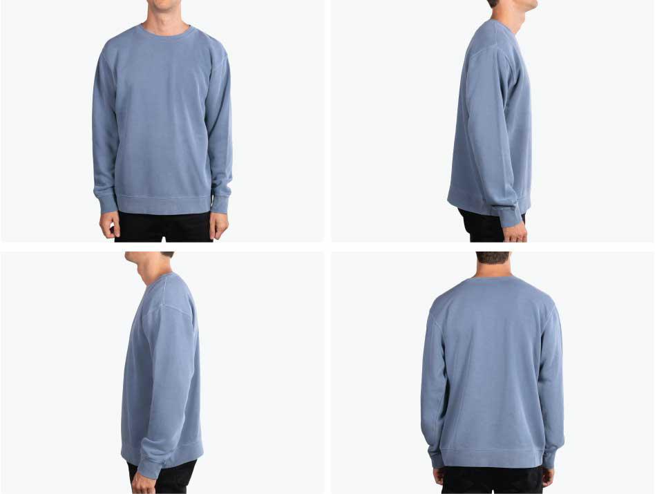 four images of man wearing blue sweatshirt