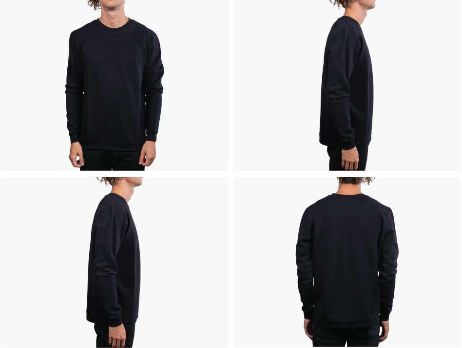 four pictures of man wearing black sweatshir