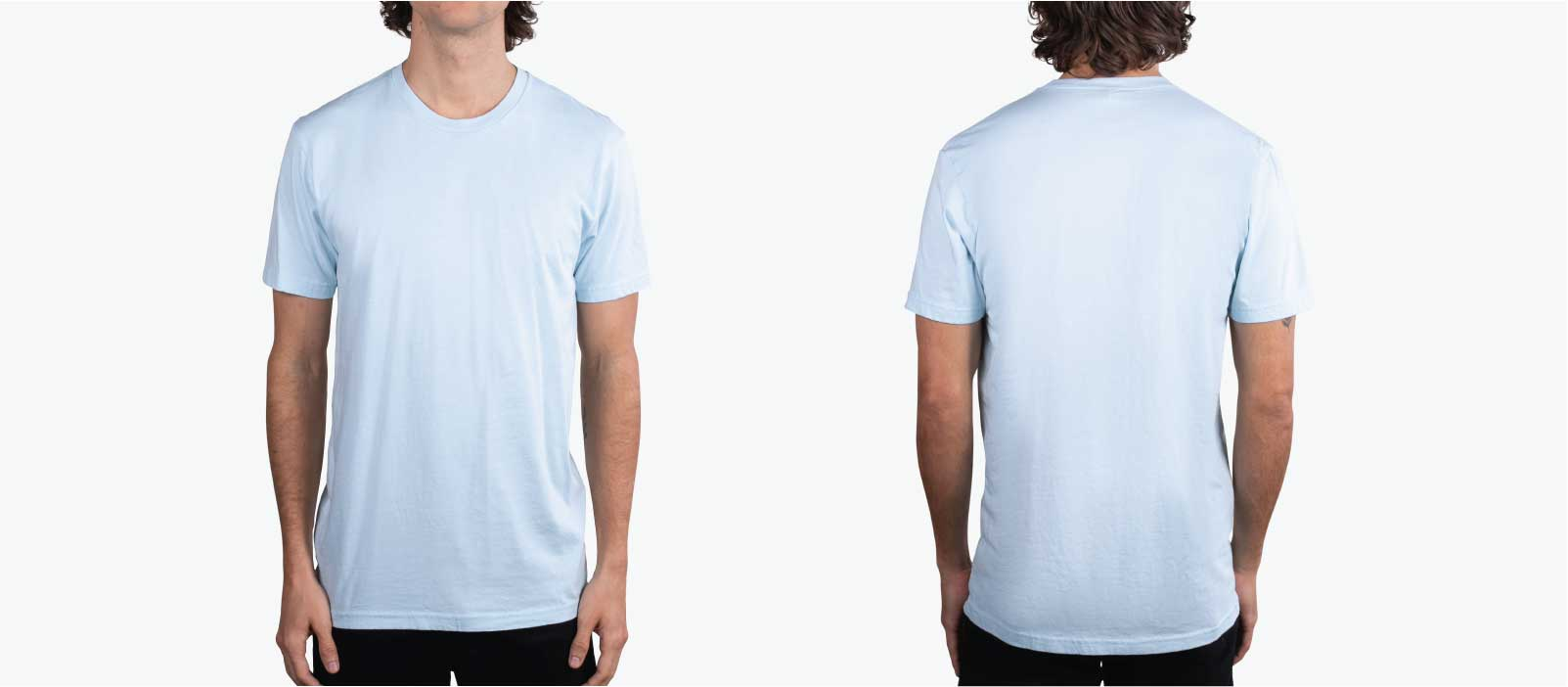 front and back modeling of light blue t-shirt