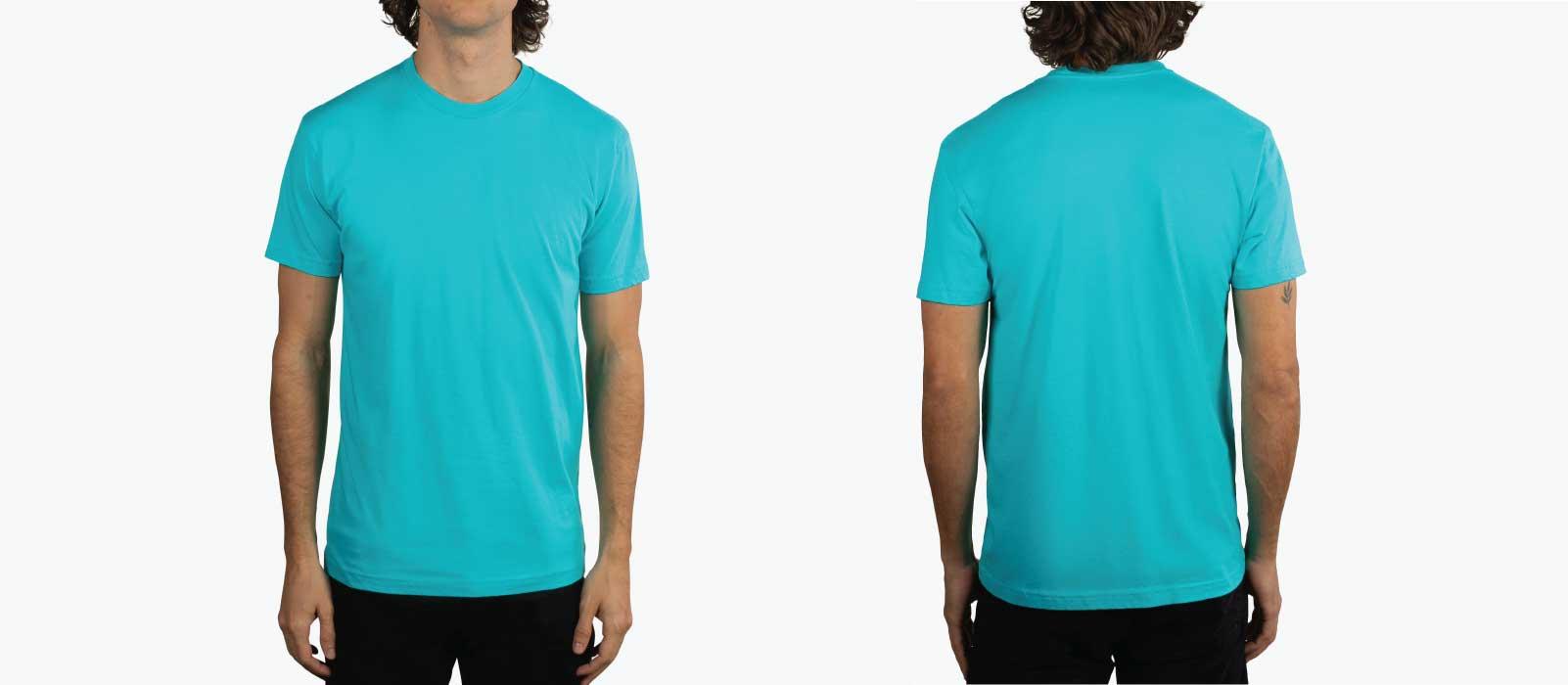front and back image of man wearing tahiti blue t-shirt