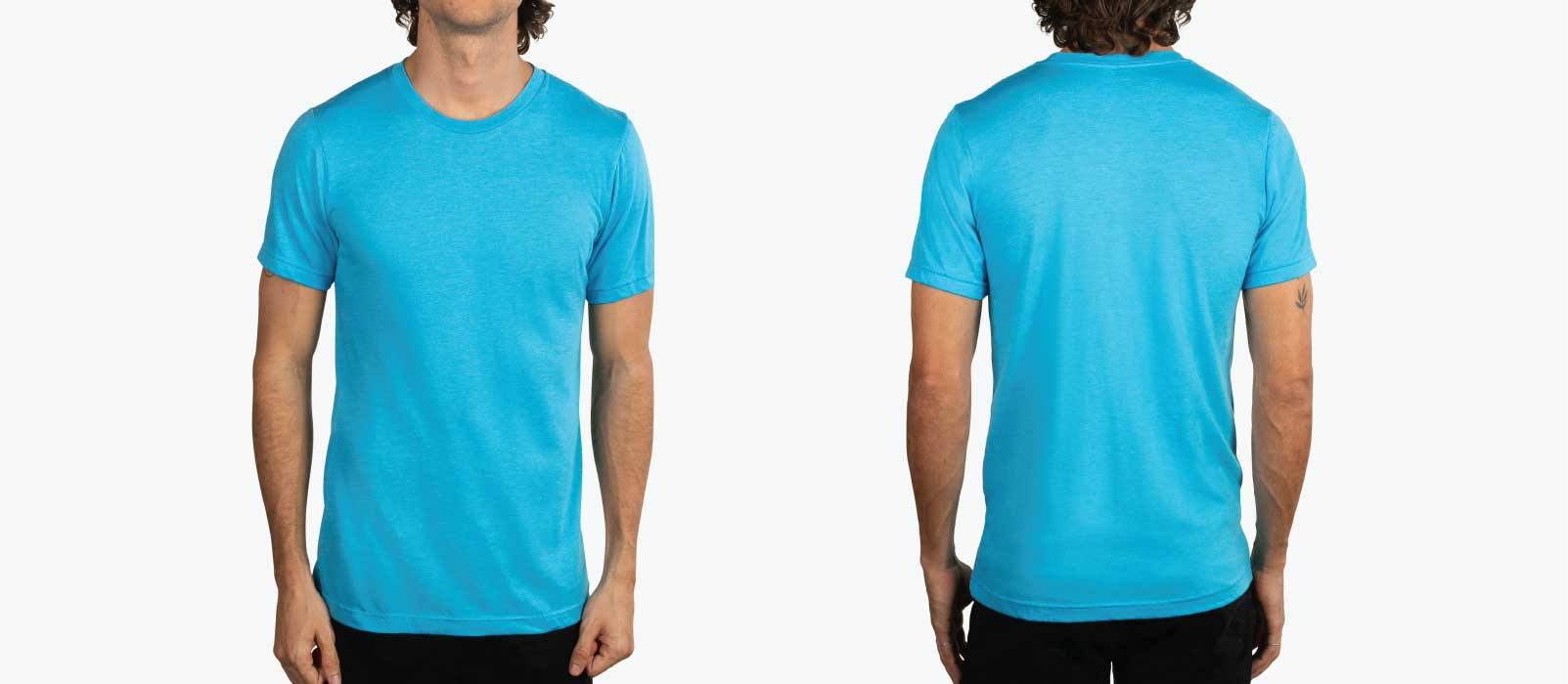 front and back picture of man modeling blue shirt