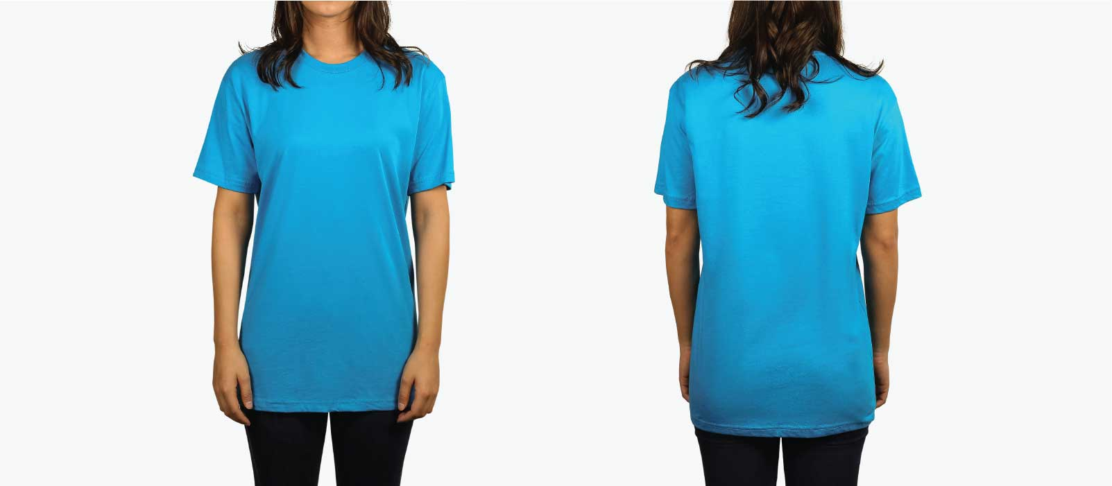 front and back model of woman wearing turquoise shirt