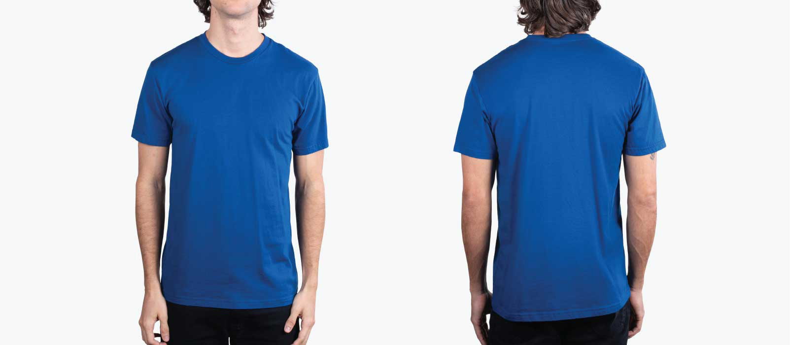 front and back image of man wearing cool blue shirt