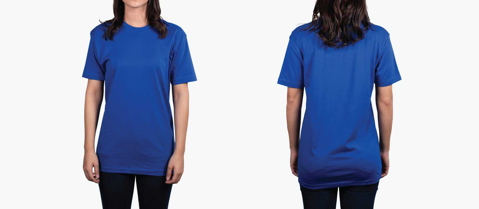 woman wearing royal blue shirt front and back