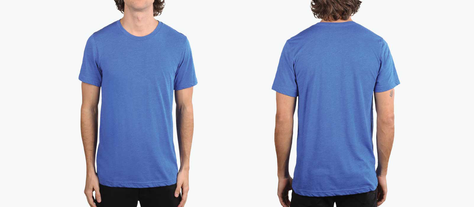 man showing front and back of denim trim-blend shirt
