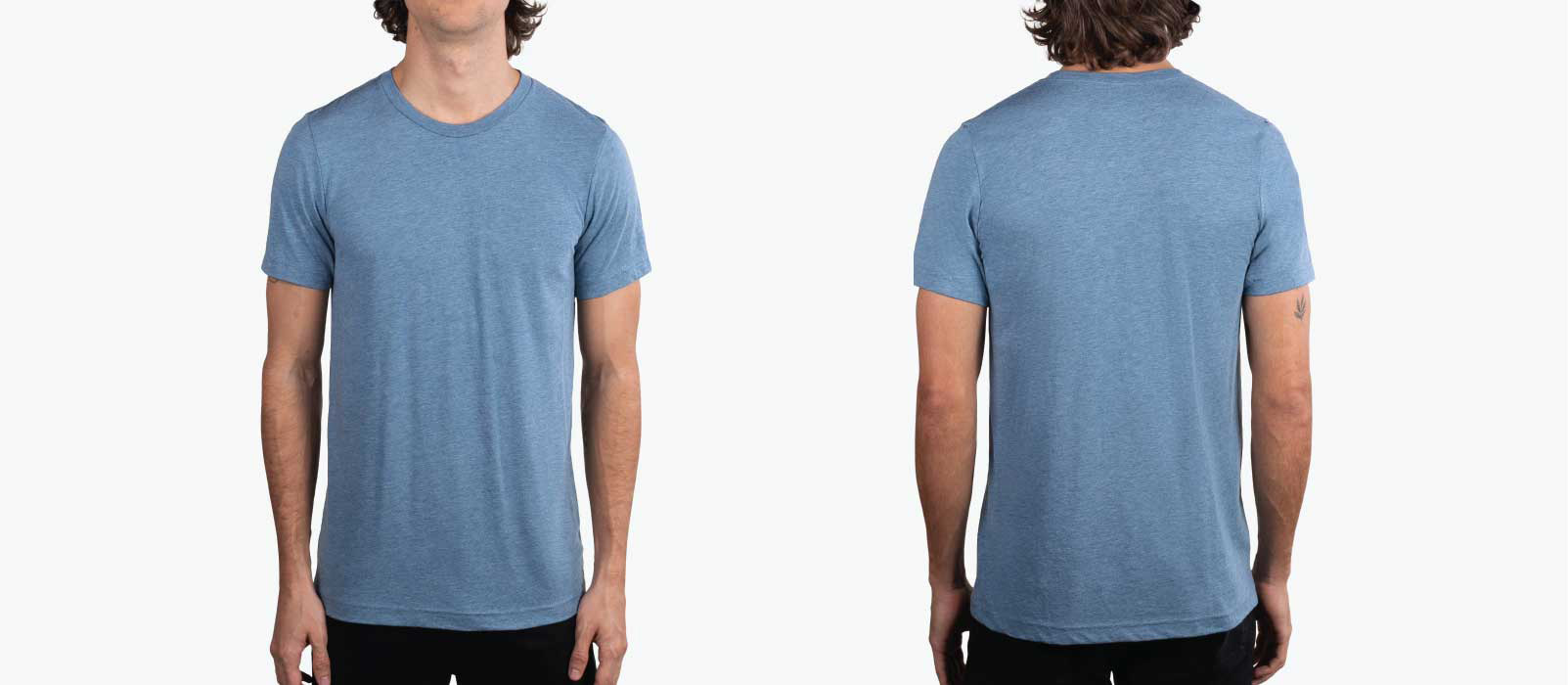 man wearing front and back of steel blue shirt