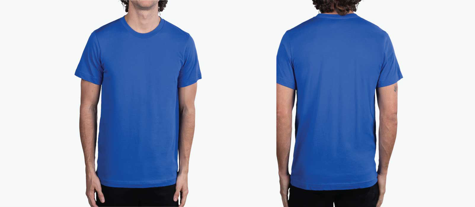 front and back of man wearing royal blue shirt