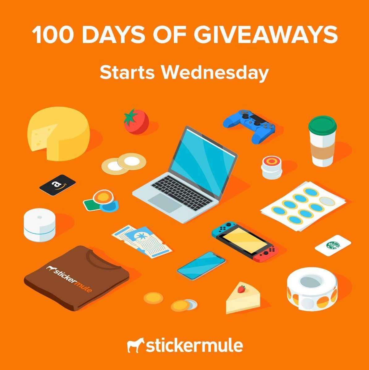 100 days of giveaways graphic