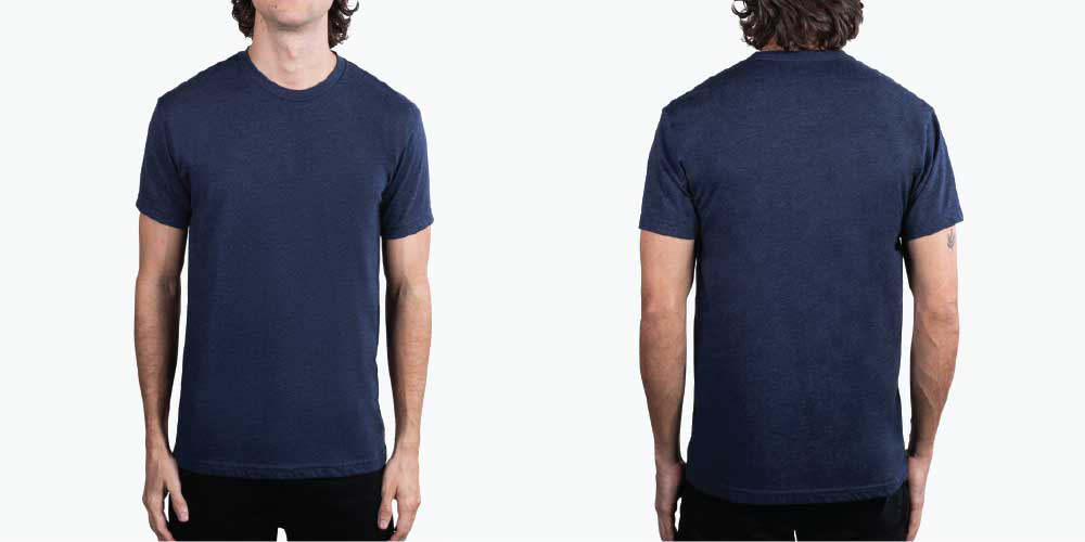 man wearing navy shirt