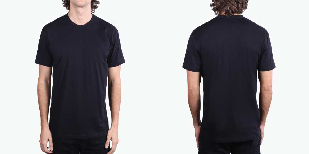 man wearing front and back shirt