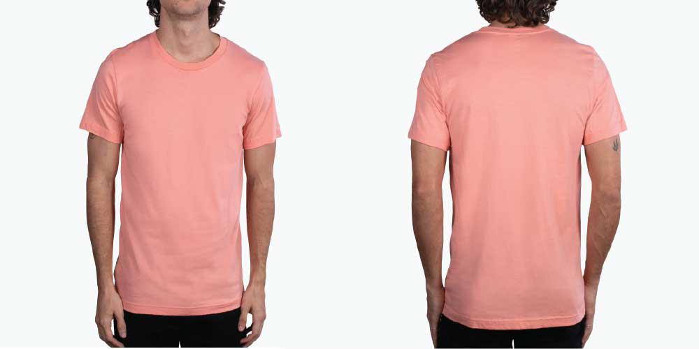 man wearing salmon colored shirt
