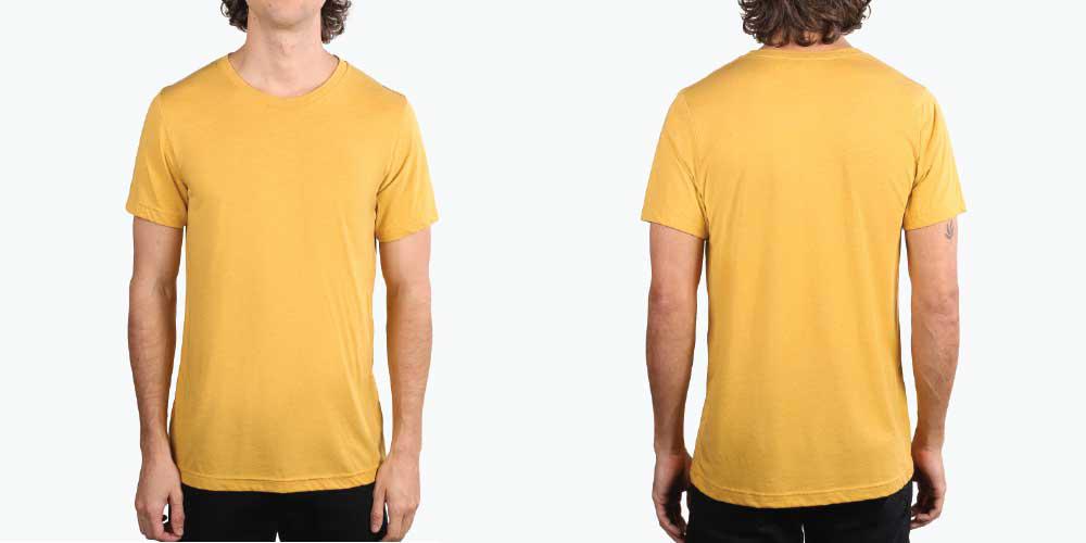 man wearing mustard yellow shirt