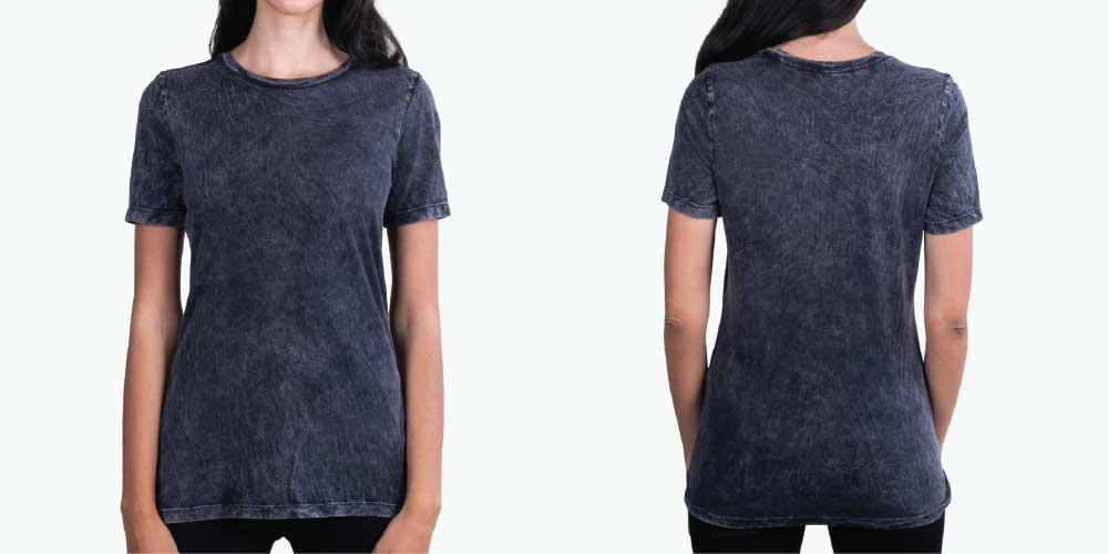 woman wearing acid wash shirt
