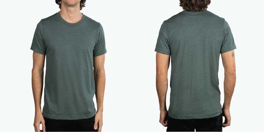 man wearing green shirt front and back