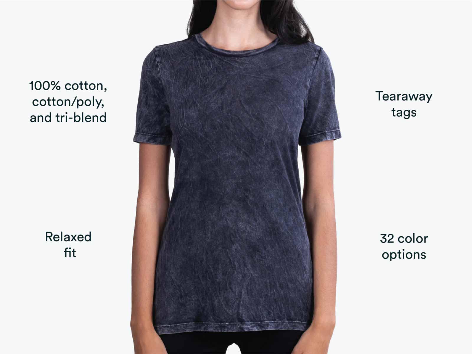 girl wearing black acid wash shirt
