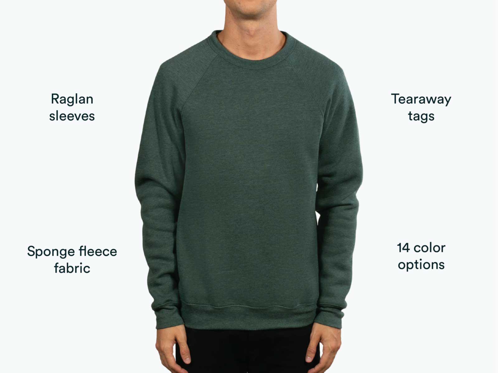 man wearing green Bella Canvas sweatshirt