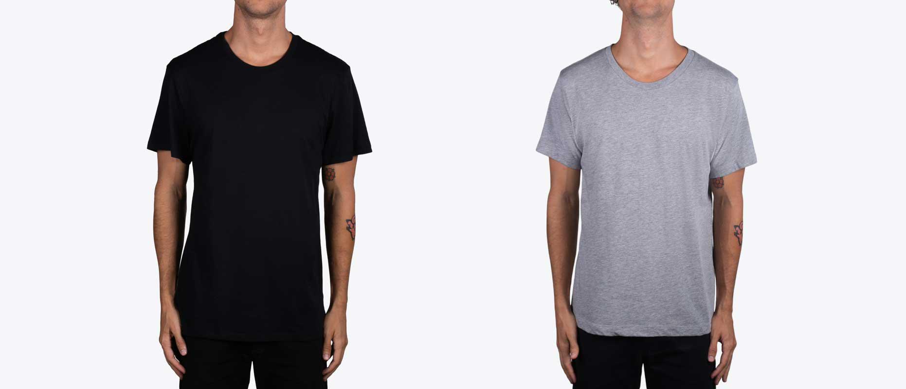 man wearing a black shirt and a gray shirt