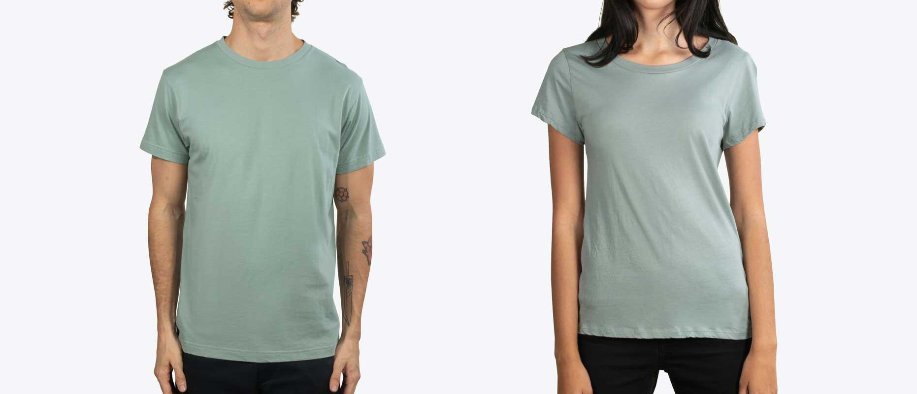 man and woman modeling green shirt
