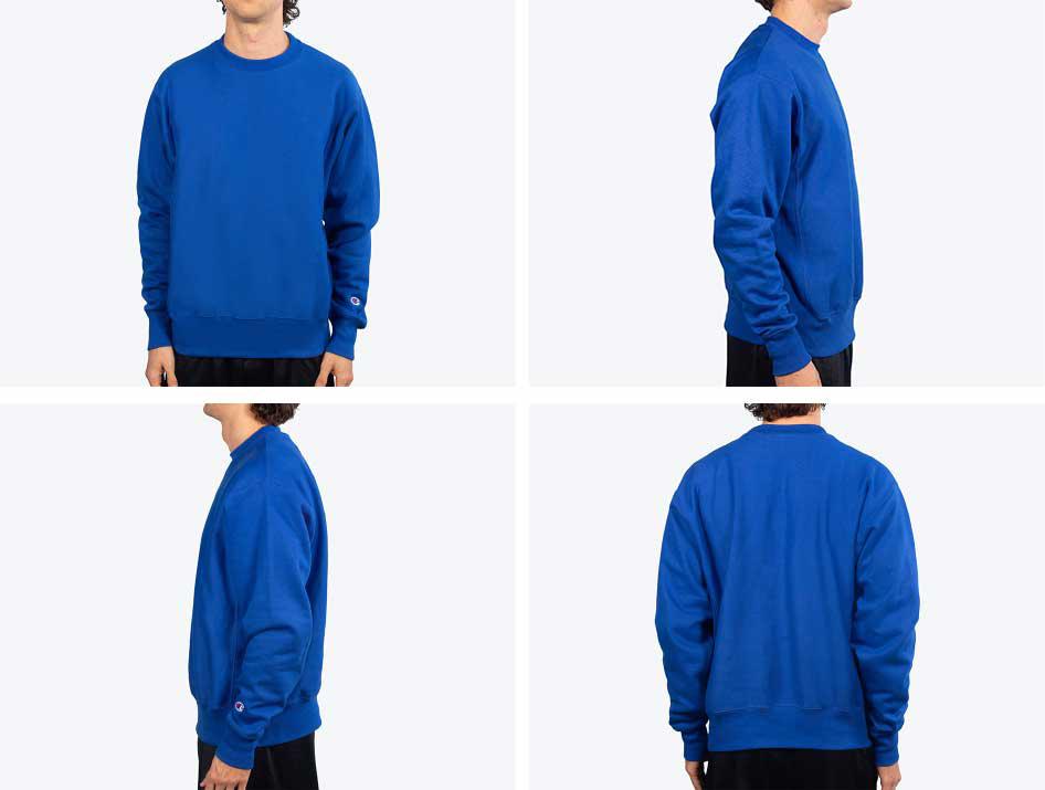 man wearing royal blue sweatshirt