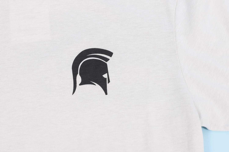 White shirt with black spartan helmet logo