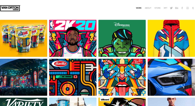 webpage full of design illustrations
