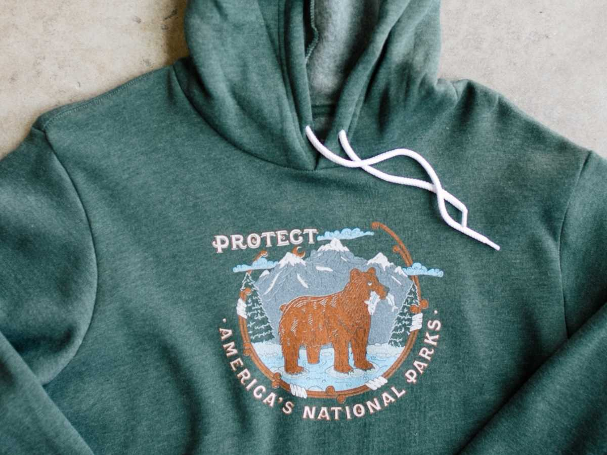 A custom printed hoodie with a National Park design.