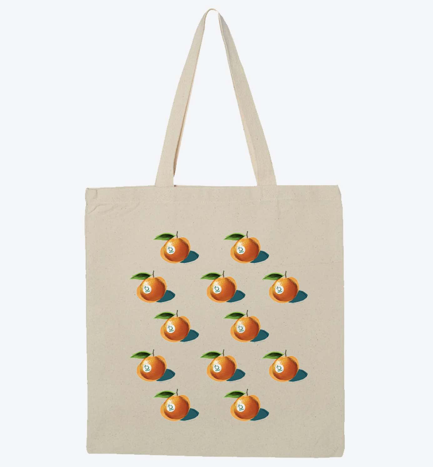 A custom tote with an orange logo multiple times.