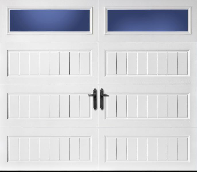 Amarr Traditional Heritage white long panel bead board long panel windows RW Garage Doors