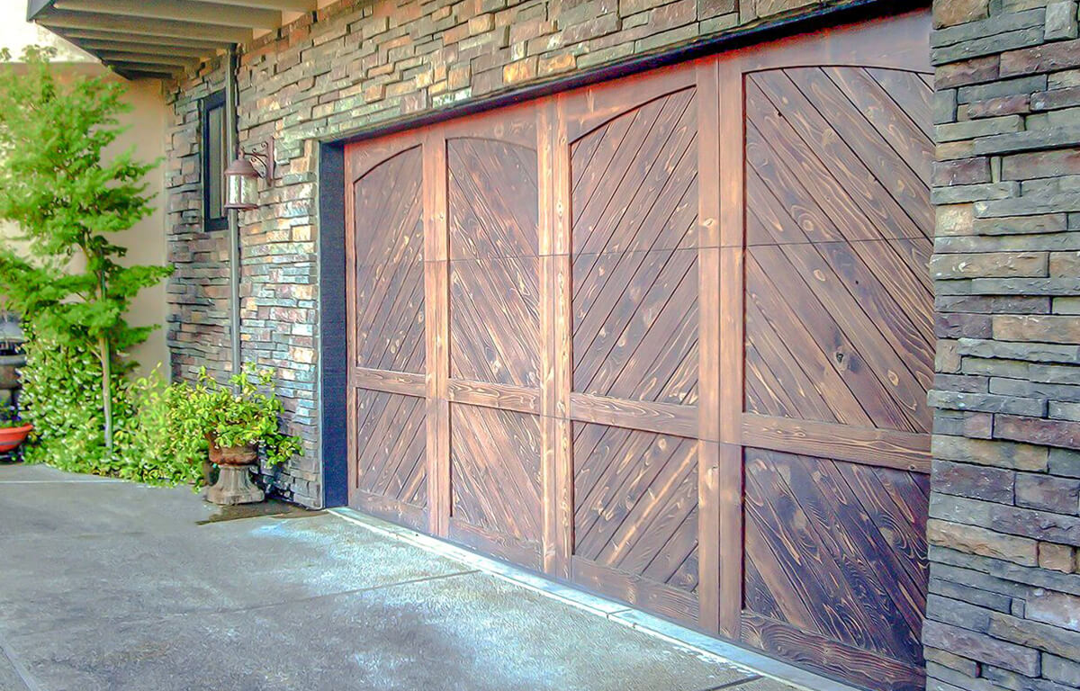 Custom Wood Herringbone Carriage House RW Garage Doors