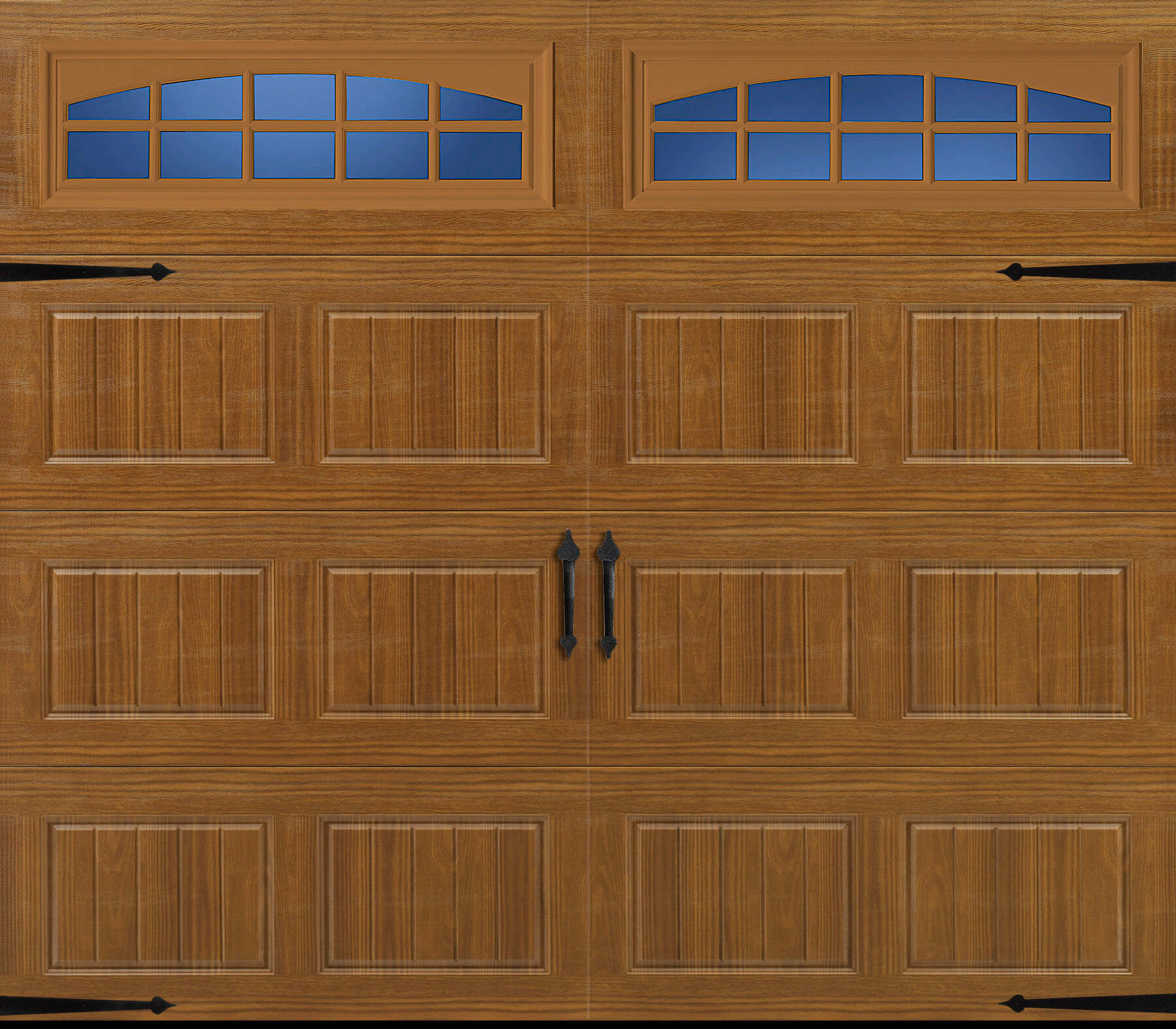 Amarr Traditional Heritage short panel bead board golden oak cascade windows rw garage doors