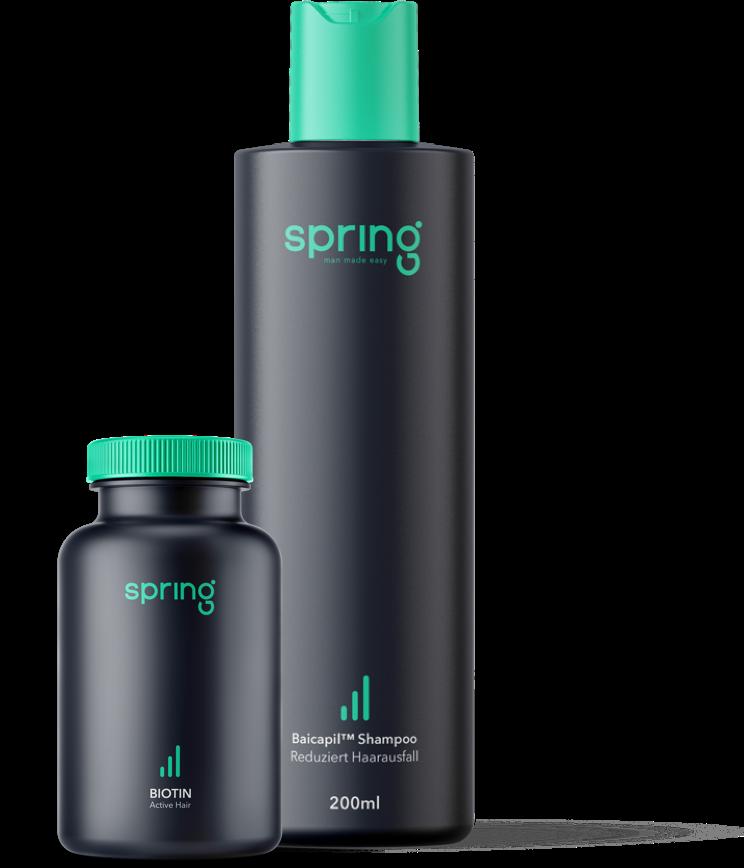 Bild der Spring Biotinkapseln und des Spring Biotin Shampoos in einer 200 ml Flasche auf weißem Hintergrund.