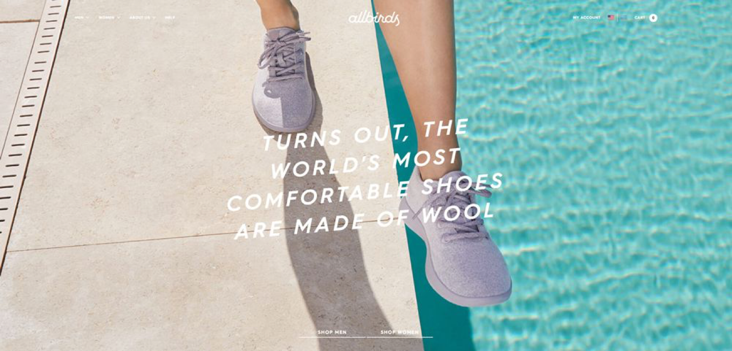 "Allbirds landing page that says, ""turns out, the world's most comfortable shoes are made of wool"""