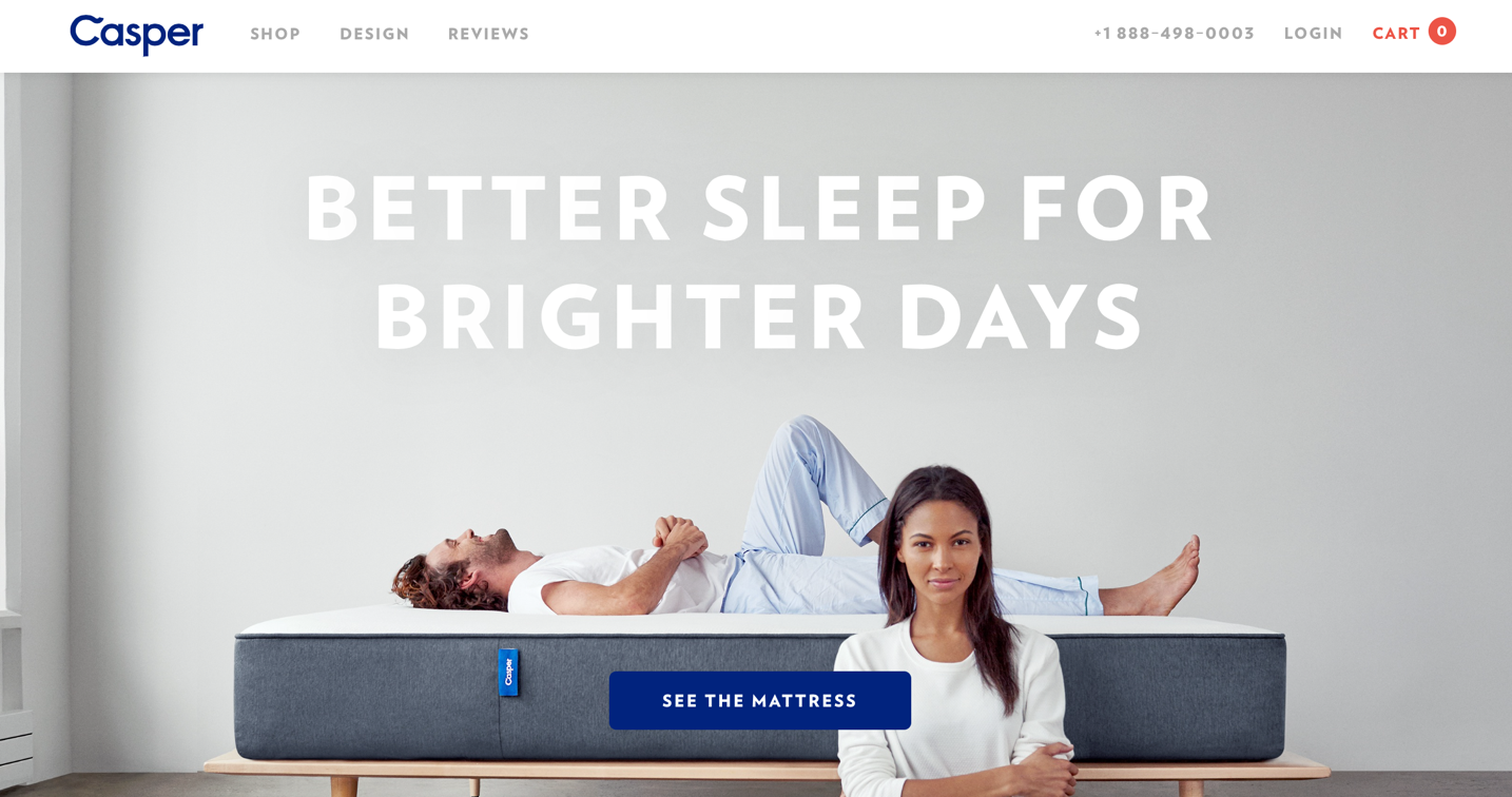 "Screenshot of Casper landing page with large image and white text that says, ""Better sleep for brighter days"""