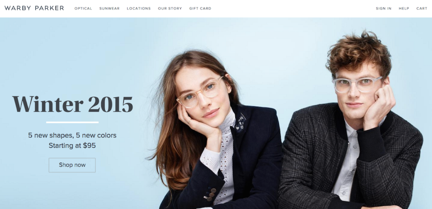 "Screenshot of Warby Parker landing page with the headline saying, ""Winter 2015"""