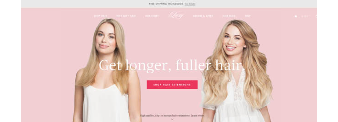 Screenshot of two women on landing page